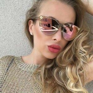 Versace Sunglasses Gold/Pink *Popular*